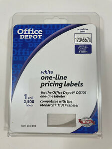 Office Depot Brand White One line Pricing Labels 2 500 Labels Roll 533 900 Od101