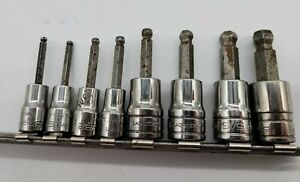Snap On 8 Piece 1 4 3 8 Standard Ball Hex Bit Socket Set Fab Tmab
