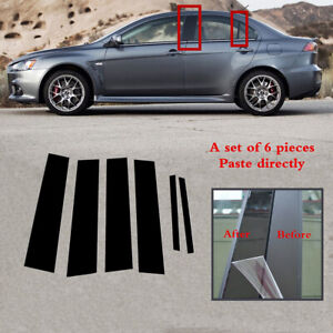 6pc Set Pillar Posts Door Trim Black Cover Fit For Mitsubishi Lancer 2008 2017