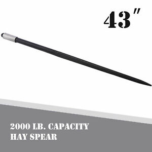 43in Hay Bale Spear 1 Ton Capacity For Bobcat Skidsteer Tractor Loader And More