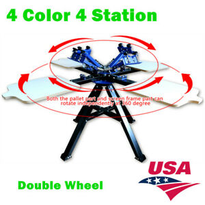 Usa 4 Color 4 Station Silk Screen Printing Machine T shirt Press Printer