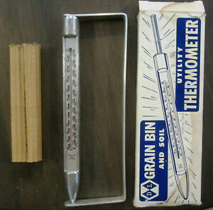 Vintage D L Grain Bin And Soil Thermometer With Bracket Functional