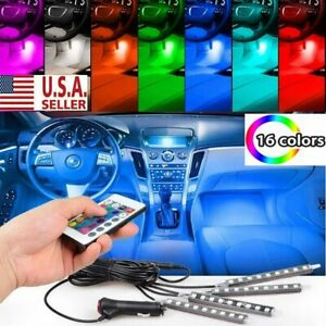 4pcs Rgb 36led Glow Car Interior Lamp Under Dash Footwell Seats Inside Lighting