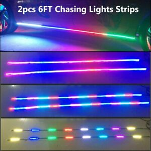 2pcs 6 5ft Underglow Dream Color Chasing Led Lights Strips Car Truck Bluetooth