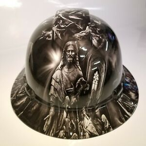 New Full Brim Hard Hat Custom Hydro Dipped Jesus With Angels Premium Edition