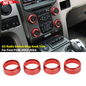 Center Control Ac Radio Switch Ring Knob Trim Covers For Ford F150 2013 2014 Red