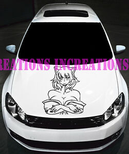 Anime Sexy Girl Manga Hood Decal Wall Stickers Graphics Original Room Decor