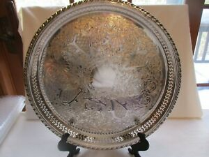 Large Vintage Round Silver Plate Footed Serving Tray Excellent Condition