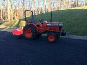 Kubota L 2250 Tractor With 4 Ft Flail Mower