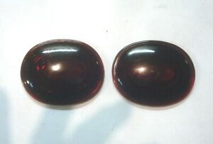 2 Vintage Oval Ruby Red Glass Lens