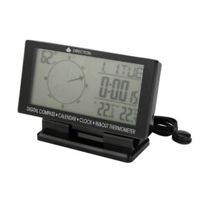 Car Digital Compass Large Lcd Display Blue Led Backlight With Clock Temperature