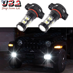 2504 Psx24w White Led Fog Driving Light Bulbs For Jeep Wrangler Jl 2010 2020