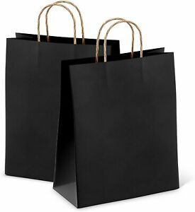 Black Retail Shopping Kraft Gift Paper Bags With Handles 8x4 75x10 5 25 Pack