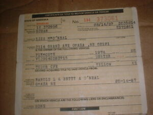 Plymouth 1974 Duster 2dr Cpe V8 Vintage Historical Document Neb Auto Title