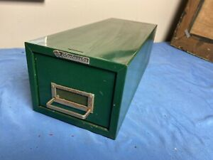 Vtg Steelmaster Metal Cabinet Industrial Machinist Green Card Catalog Library