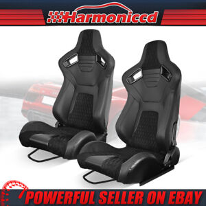 Reclinable Universal Racing Seat Pu Suede Carbon Leather Black 2 Dual Sliders