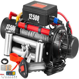 12500lbs 12v Electric Winch Steel Cable 85ft Truck Trailer Towing Off road Atv
