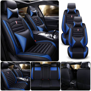 Blue Full Set Pu Leather Car Seat Covers Universal Cushion 5 sits Suv Protectors