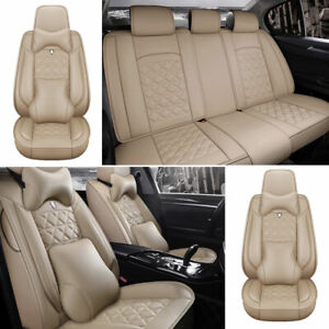 Full Set Beige Pu Leather Car Seat Cover Protector Universal 5 sits Cushions Us