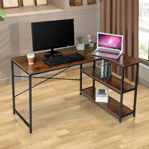 Home Office L shaped Computer Desk Gaming Table Workstation With 2 Tiers Shelf