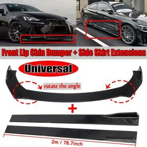 Universal Glossy Black Front Bumper Lip Spoiler Splitter amp;78.7#x27;#x27; Side Skirts Kit $78.99