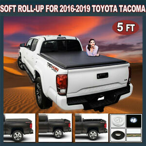 For 2016 2019 Toyota Tacoma 5ft Short Bed Soft Roll Up Black Tonneau Cover