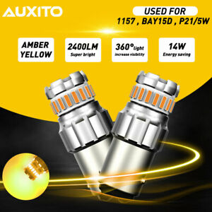 Auxito 1157 Amber Yellow Led Turn Signal Indicator Parking Light Bulbs Canbus