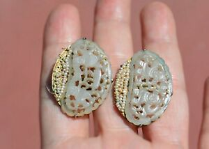1930 S Chinese White Jade Carved Carving Plaque Seed Pearl 14k Gold Earrings