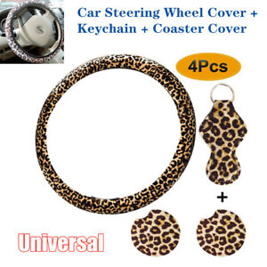 4pcs Set Leopard Print Car Vehicle Steering Wheel Cover Keychain Coaster Cover
