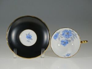 Royal Stafford Black With Blue Anemones Tea Cup And Saucer England C 1958