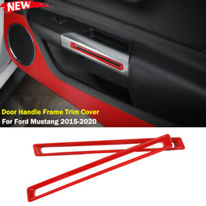 Interior Door Handle Frame Trim Cover For Ford Mustang 2015 2020 Red Accessories
