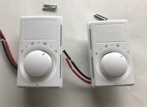 Lot Of 2 Marley M601w Electric Line Voltage Wall Thermostats White 45 75 Degree