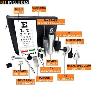 Diagnostics Professional Physician Ent Exam Kit Medical Otoscope Ophthalmoscope