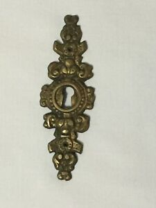 Antique Bronze Victorian Key Hole Plate Cover 4 Inches Long 1 25 Inches Wide
