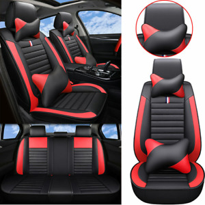 Luxury Top Red Pu Leather Car Seat Cover 5 Sits Suv Universal Cushions Full Set