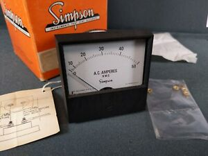 Vtg Nos New Simpson Electric Volt Panel Meter 50amp Rms 3 Inch Square In Box