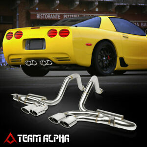 Fits 1997 2004 Corvette Z5 z06 Ls quad Oval Rolled Tip Ss Axle Back Exhaust