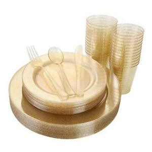 150 Pieces Gold Disposable Plates Plastic Silverware Cups Gold Glitter