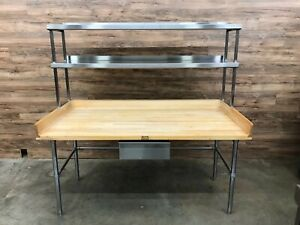John Boos Wooden Maple Top Bakers Table W double Overshelf Drawer 72 X 36 5