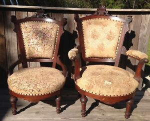 Pair Antique Victorian 1800 S Charles Eastlake Captain Mate Chairs 2 Walnut