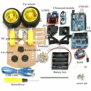 Smart Car Tracking Motor Auto Robot Ultrasonic Chassis Kit 2wd For Arduino Mcu