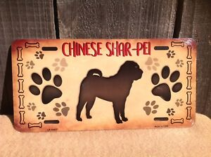 Chinese Shar Pei Paw Prints Pet Animal Dog Lovers Novelty Auto Tag License Plate