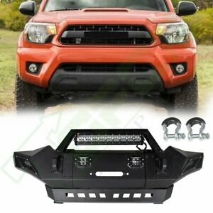 For 05 15 Toyota Tacoma Steel Front Bumper Led Lights Assembly Protector