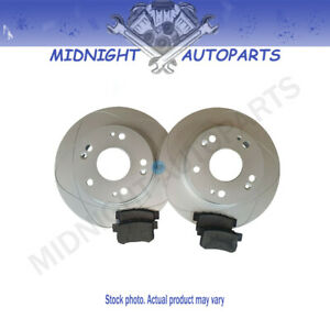 2 Front Slotted Disc Brake Rotors ceramic Brake Pads For Ford Mustang 1994 2004