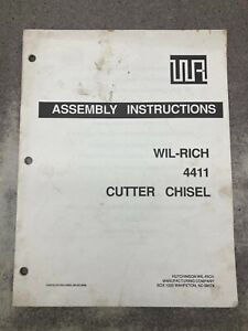 Wil rich 4411 Cutter Chisel Assembly Instructions Manual wr12