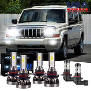 For Jeep Commander 2006 2010 6pcs Led Headlight Fog Light Bulbs Combo 6000k