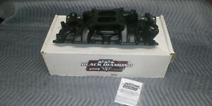 new 55 86 Sbc Chevy Quick Fuel Black Diamond Aluminum Intake Manifold