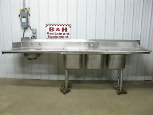 10 Stainless Steel Right Side Hobart Dirty Dish Washer Table W 3 Bowl Sink