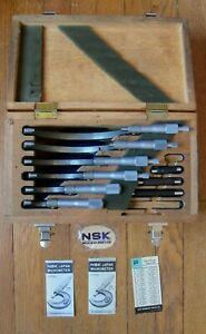 Nsk Yuxbw01 1 6 Japan Micrometer Set 0001 W Wood Case