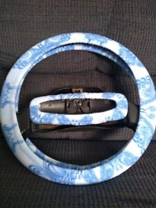 Blue Butterflies Steering Wheel Cover Only No Rear View Mirror Cover